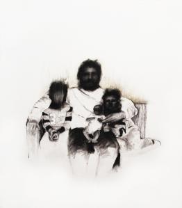 Famille VI_2011 Fusain sur papier BFK Rive 33cm x 37,5cm