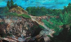 Un taliban dans notre paysage_2010 Acrylique sur toile, soustraction avec une meuleuse (terre et crevasse) 183 cm X 305 cm