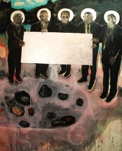 Acrylique et feuilles d'argents sur toile 122 cm x 152,5 cm