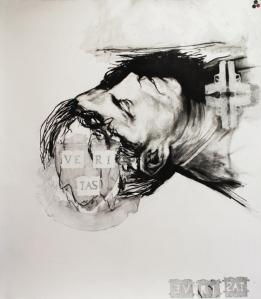 Fusain et médium mat sur papier BFK Rive 91,5cm x 122 cm 2012