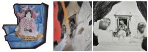 Acrylique sur papier BFK RIVE et sur plexiglas, collage inversé du dessin d'origine sur plexiglas, crayon de plomb dans la trouée sur papier BFK Rive (dessin du caporal Lortie, et famille devant Télé) cadre standardisé reconstruit environ 89 cm X 84 cm