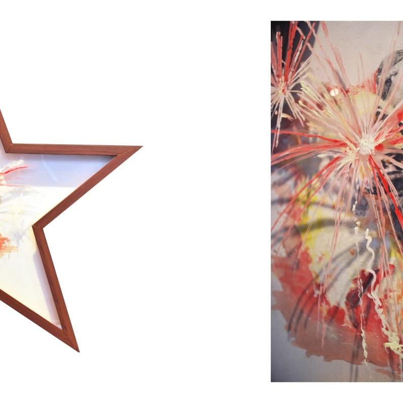 Acrylique sur papier et sur plexiglas, crayon de plomb sur papier BFK Rive cadre standardisé reconstruit environ 66 cm X 66 cm