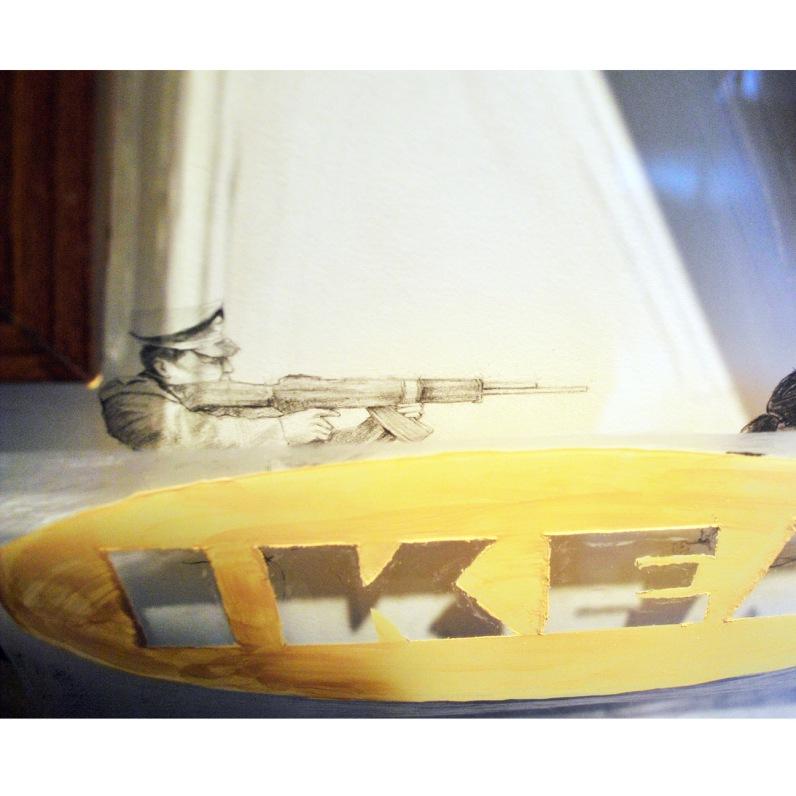 Acrylique sur plexiglas, crayon de plomb sur papier BFK Rive (exécution d'un détenu chinois) cadre standardisé reconstruit environ 66 cm X 66 cm