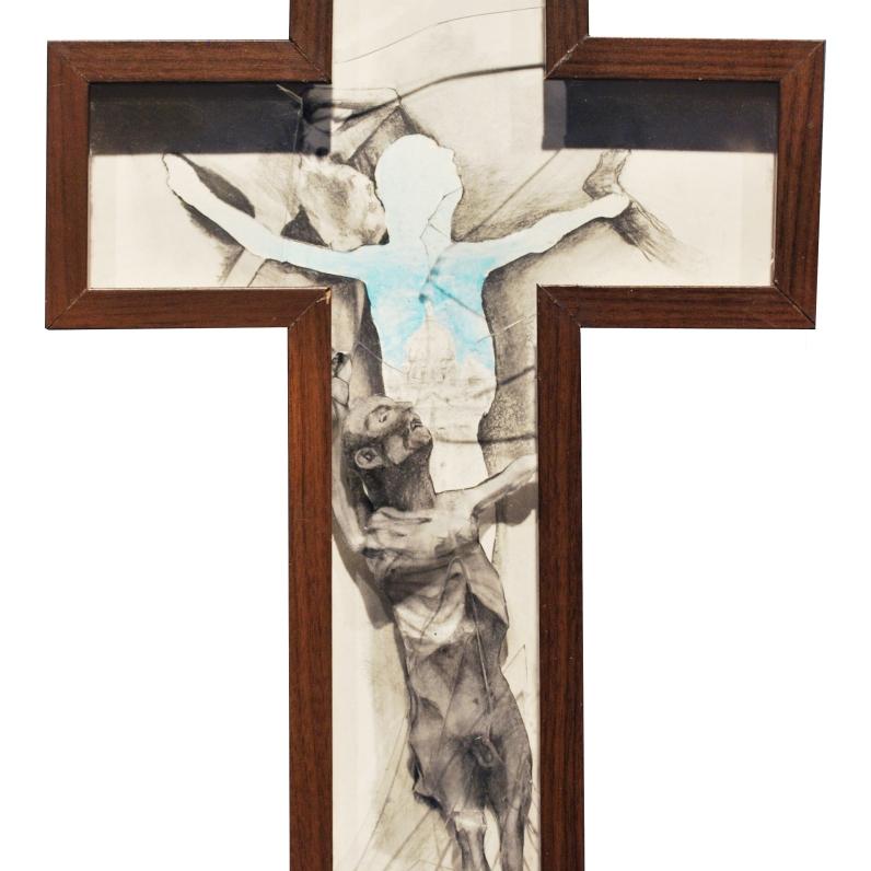 Acrylique sur papier et sur plexiglas, crayon de plomb sur papier BFK Rive en troué, collage inversé du dessin d'origine sur plexiglas, Cadre standardisé reconstruit environ 71 cm X 68,5 cm
