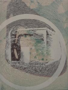 """Étude pour le projet """"à chacun son trou"""" Hitler_2014 Acrylique sur toile soustraction avec une meuleuse (terre et crevasse) 35,56 cm X 45,77 cm"""