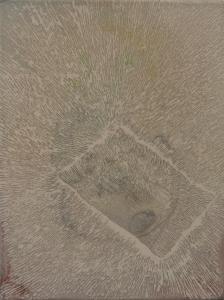"""Étude pour le projet """"à chacun son trou"""" Kadhafi_2014 Acrylique sur toile soustraction avec une meuleuse (terre et crevasse) 35,56 cm X 45,77 cm"""
