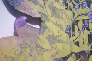 Mussolini VS Carlo Guiliani_2014 10.1 Détail de l'oeuvre, Médium mixte sur toile marouflée sur MDF Soustraction avec une meuleuse environ 243,76 cm X 457,05 cm
