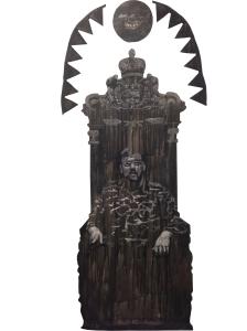 Chronique_2013 Médium mixte sur toile marouflée sur MDF Soustraction avec une meuleuse 274 cm X 152 cm