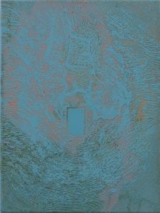 """Étude pour le projet """"à chacun son trou"""" Ben Laden_2014 Acrylique sur toile soustraction avec une meuleuse (terre et crevasse) 35,56 cm X 45,77 cm"""