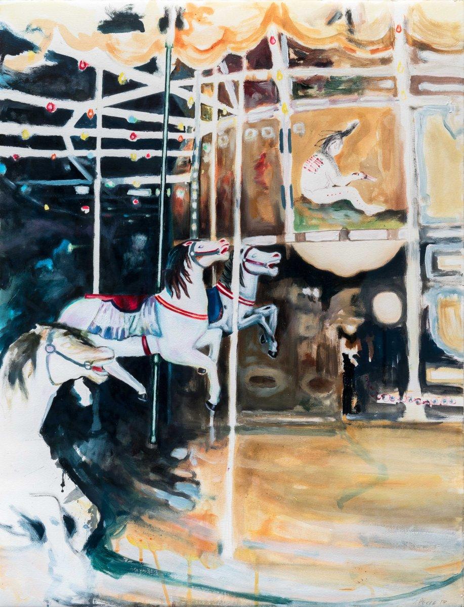 Le caroussel_2017_Acrylique sur papier_50 cm X 66 cm Collection privée