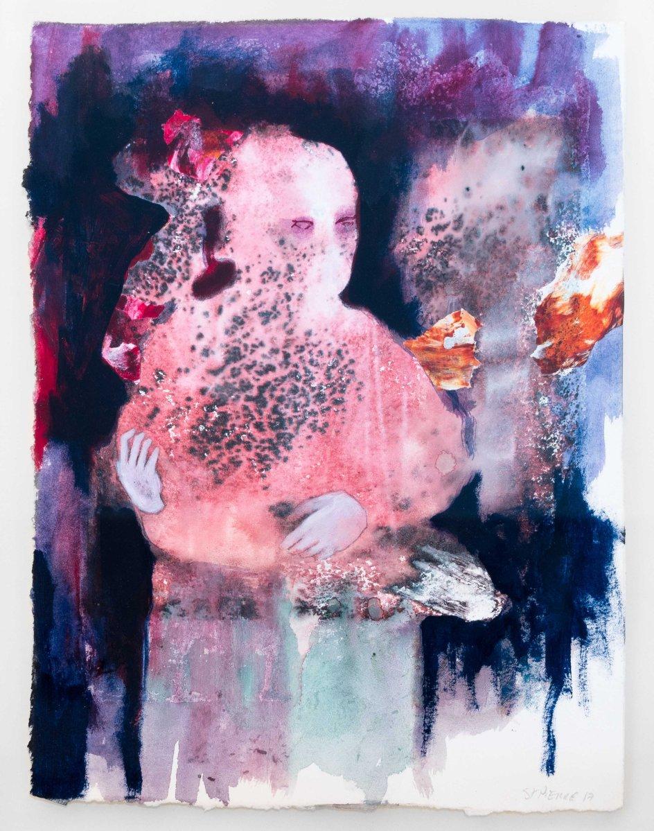 Madone à la Kalachnikov_2017_Acrylique, encre sur papier_25,5 cm X 33 cm Disponible