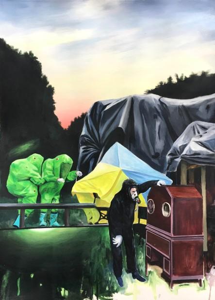 #10_L'horizon des événements #3 - Se peindre dans le coin de l'affaire Skrypal_Acrylique sur papier_56 cm X 76 cm_2018